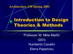 introduction to design theories methods