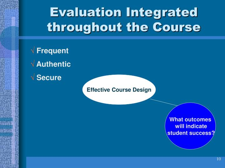Evaluation Integrated throughout the Course