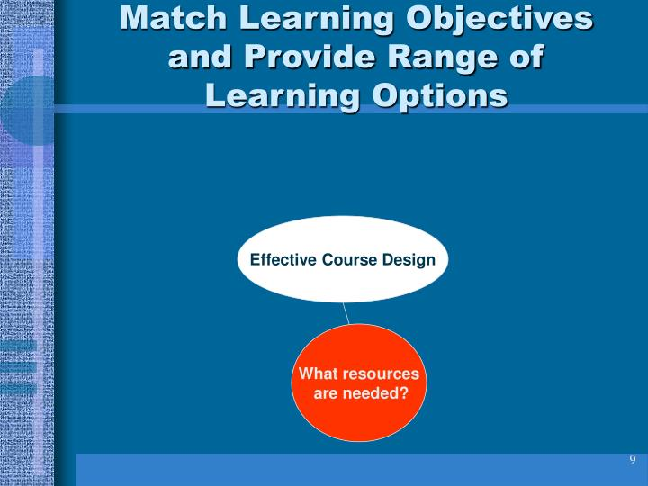 Match Learning Objectives and Provide Range of Learning Options