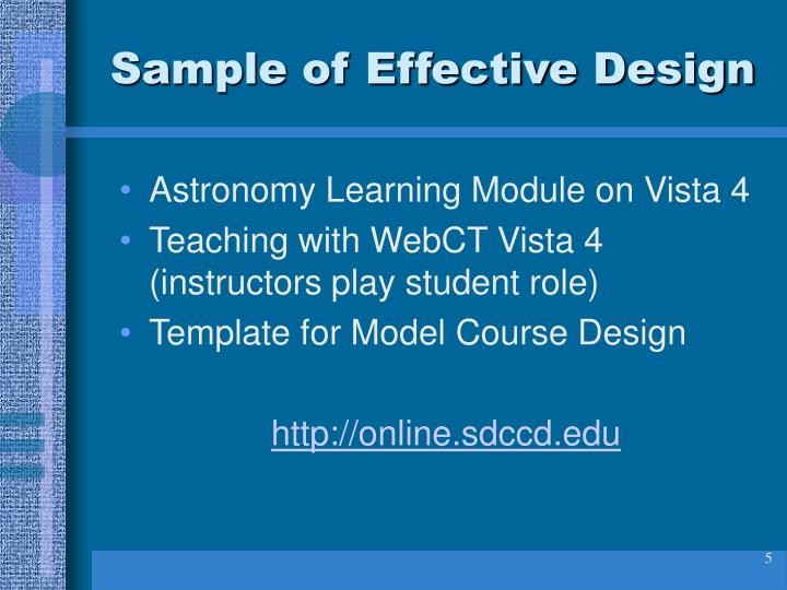 Sample of Effective Design
