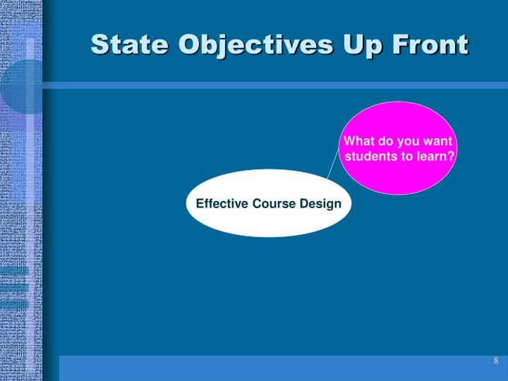 State Objectives Up Front