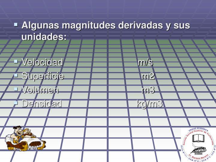 Algunas magnitudes derivadas y sus unidades:
