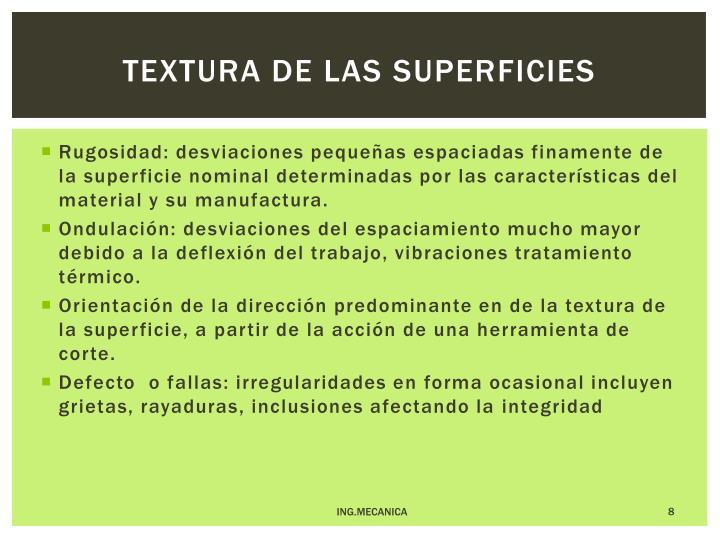 Textura de las superficies