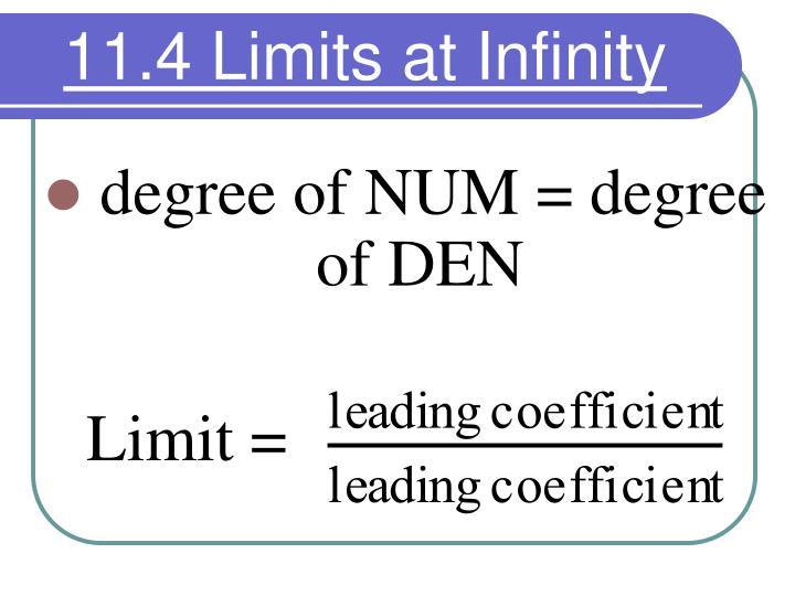 11.4 Limits at Infinity