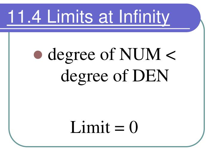 11.4 Limits at Infinity