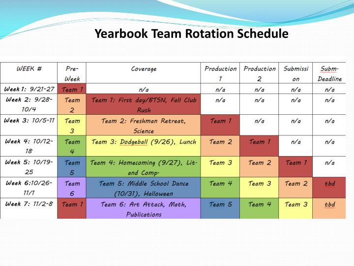 Yearbook Team Rotation Schedule