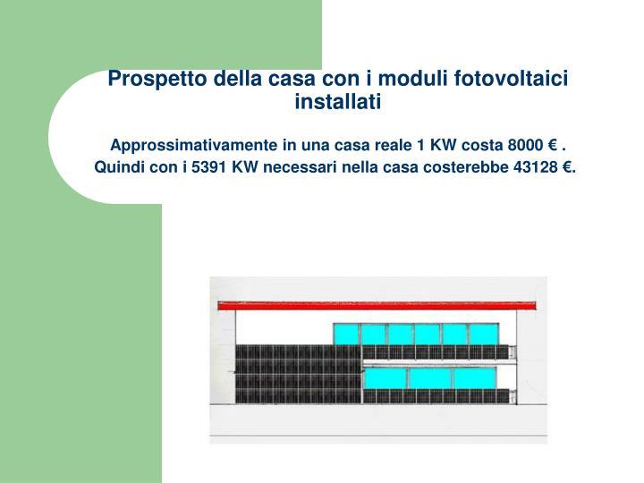 Prospetto della casa con i moduli fotovoltaici installati