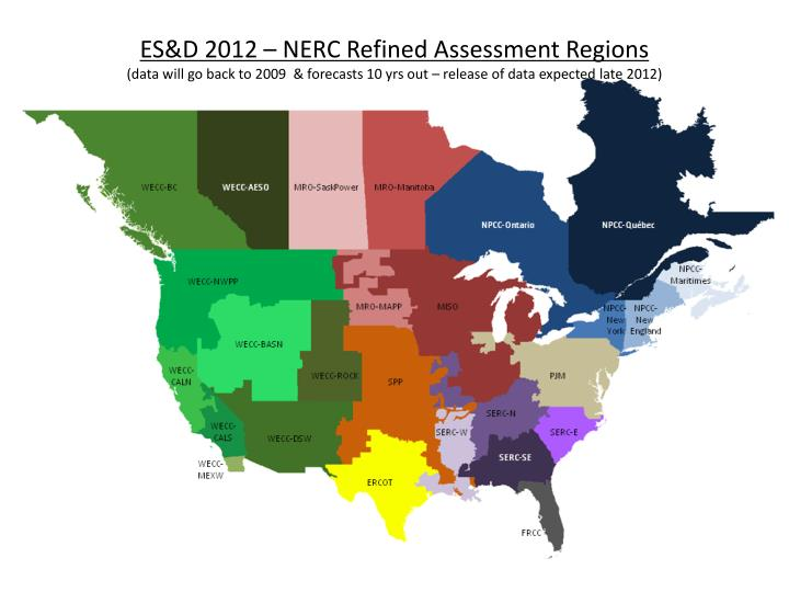 ES&D 2012 – NERC Refined Assessment Regions