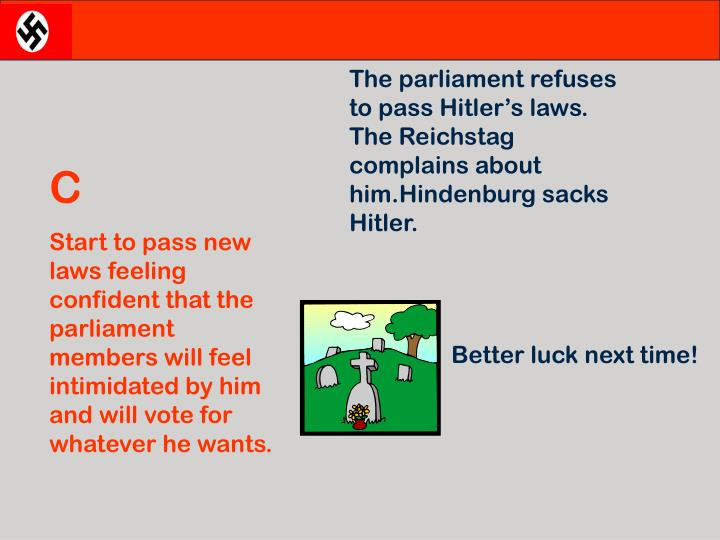 The parliament refuses to pass Hitler's laws. The Reichstag complains about him.Hindenburg sacks Hitler.
