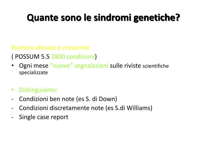 Quante sono le sindromi genetiche?