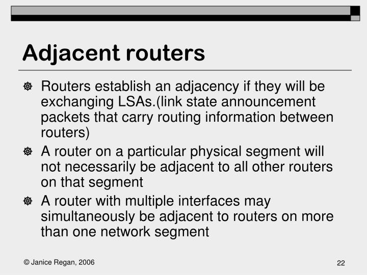 Adjacent routers