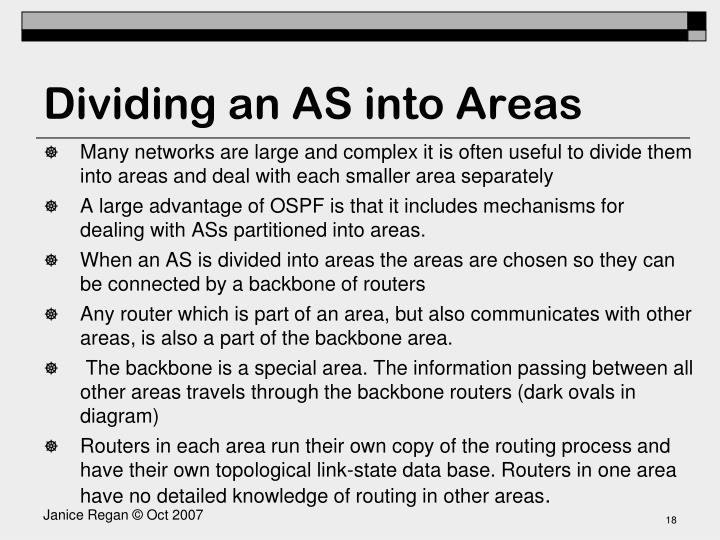 Dividing an AS into Areas