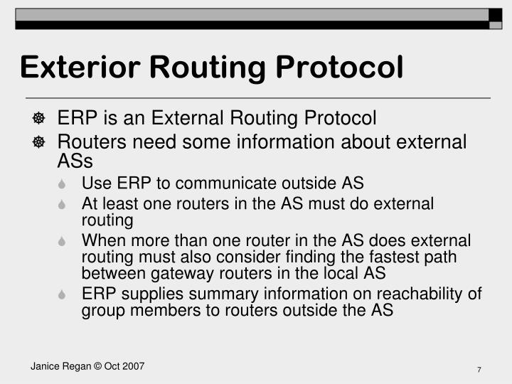 Exterior Routing Protocol