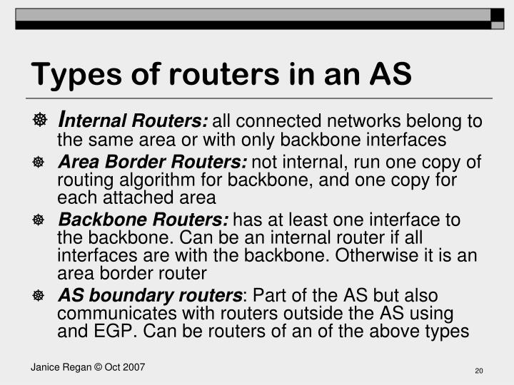 Types of routers in an AS