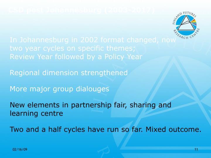 CSD post Johannesburg (2003-2017)