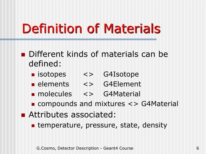 Definition of Materials