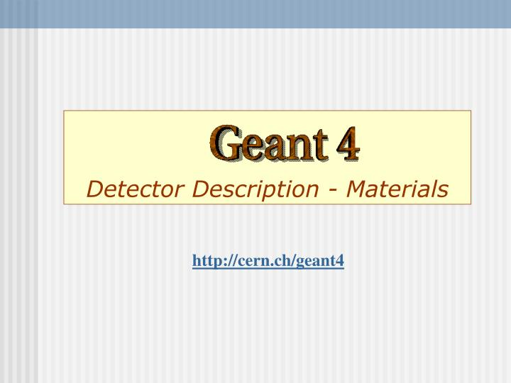 Detector description materials