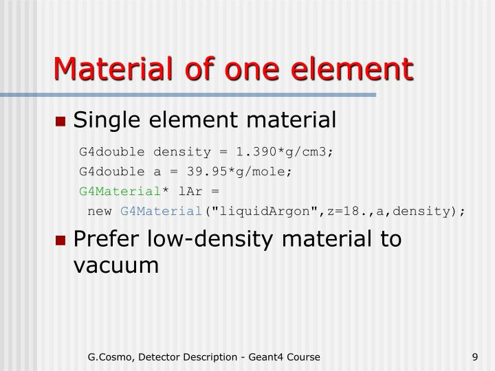 Material of one element