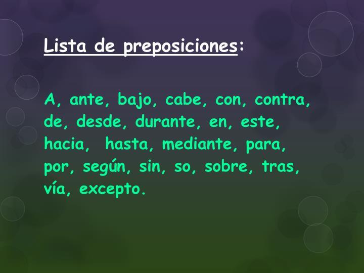 Lista de preposiciones