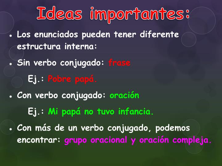 Ideas importantes:
