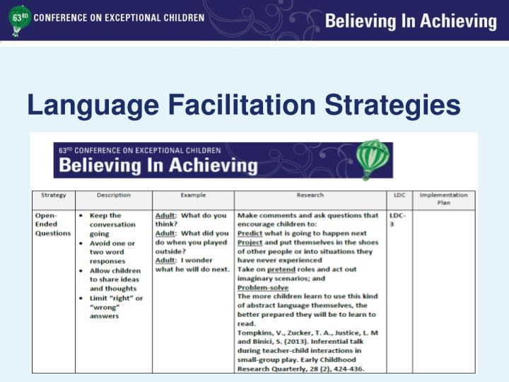 Language Facilitation Strategies