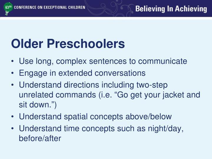 Older Preschoolers