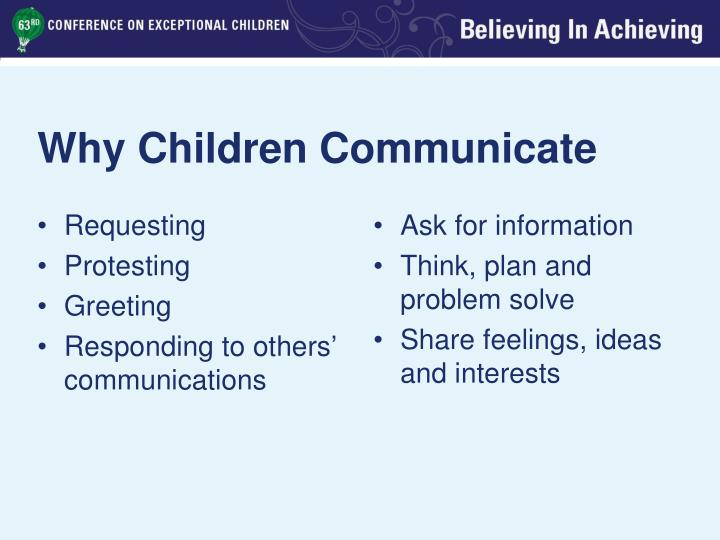Why Children Communicate