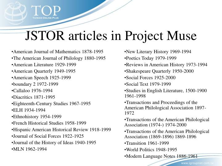 JSTOR articles in Project Muse