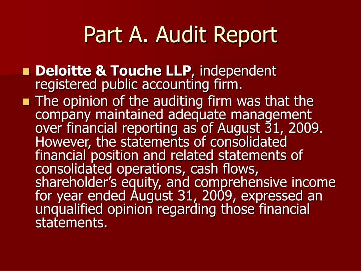 Part A. Audit Report