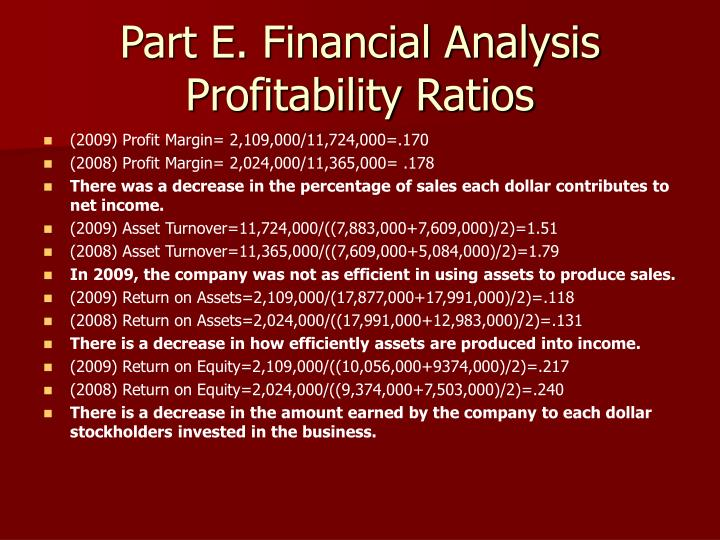 Part E. Financial Analysis Profitability Ratios