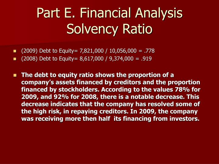 Part E. Financial Analysis Solvency Ratio