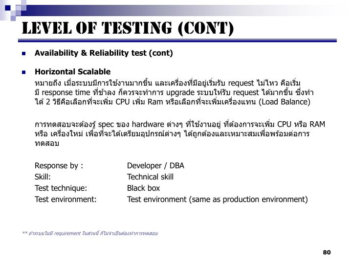 Availability & Reliability test (cont)