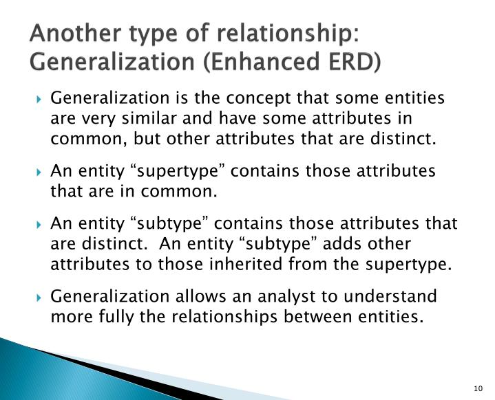 Another type of relationship: Generalization (Enhanced ERD)