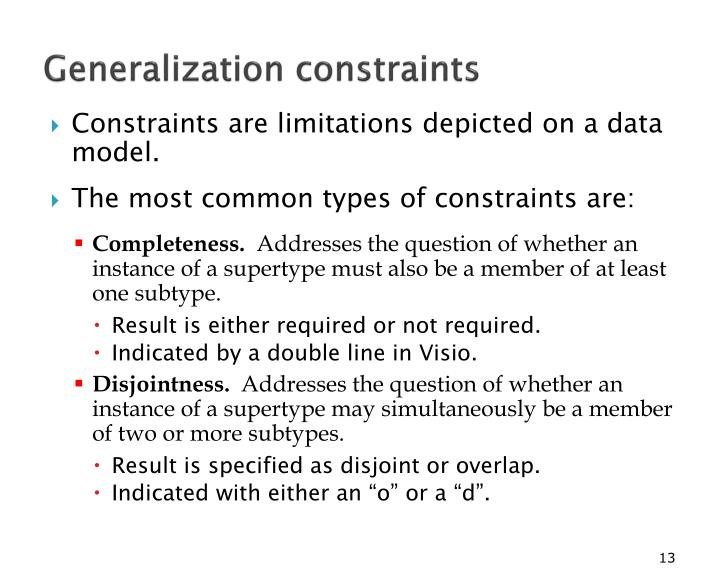Generalization constraints
