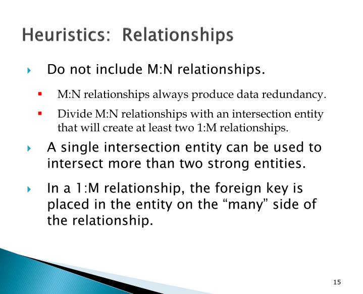 Heuristics:  Relationships