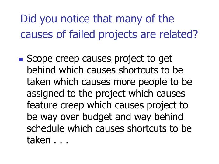 Did you notice that many of the causes of failed projects are related?