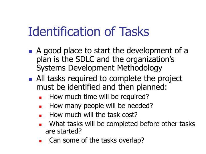 Identification of Tasks