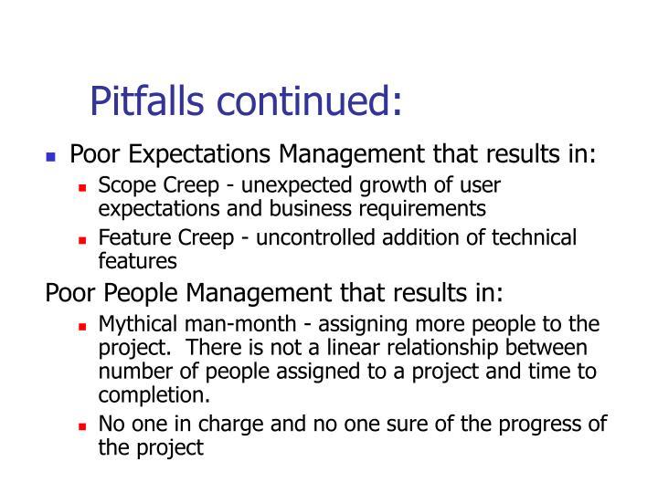 Pitfalls continued:
