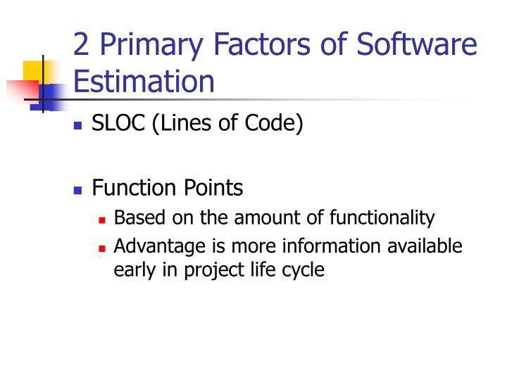 2 Primary Factors of Software Estimation