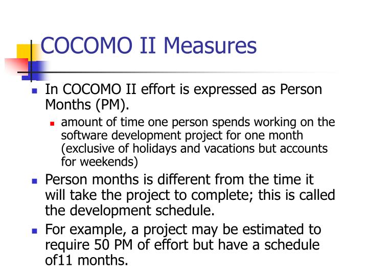 COCOMO II Measures