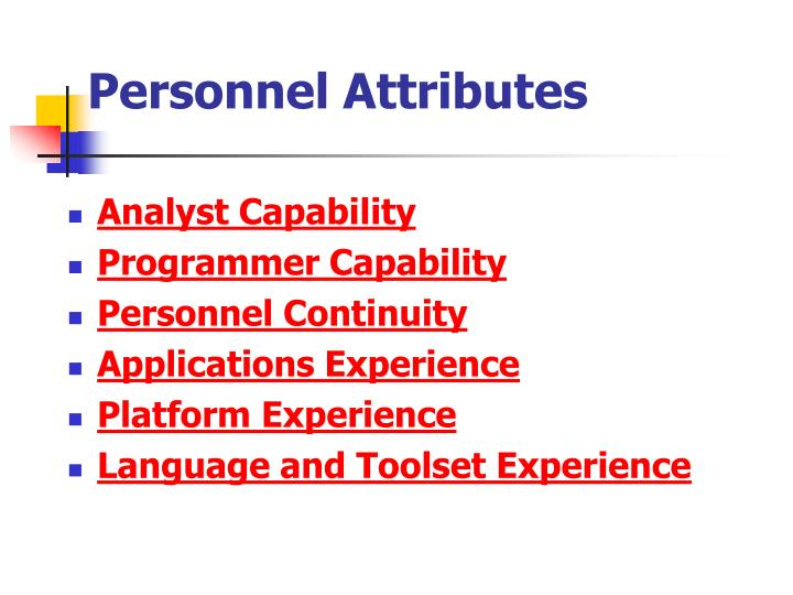 Personnel Attributes