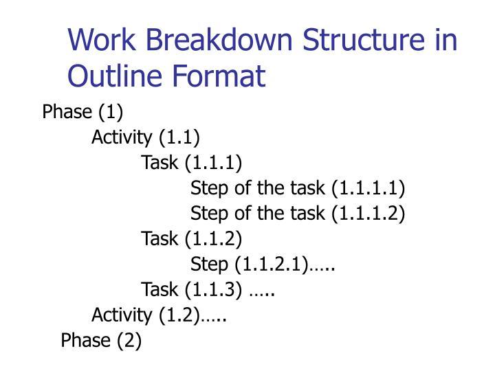 Work Breakdown Structure in Outline Format