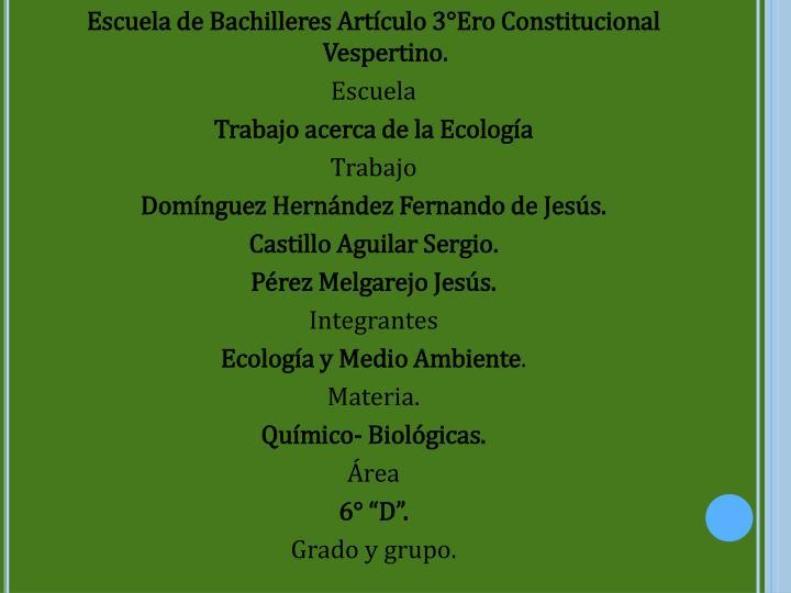 Escuela de Bachilleres Artículo 3°Ero Constitucional Vespertino.