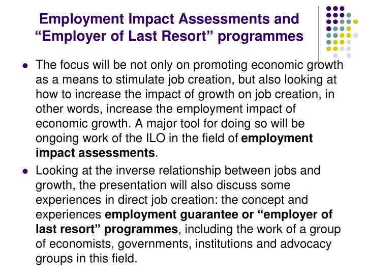 Employment Impact Assessments and