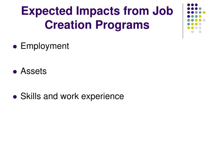 Expected Impacts from Job Creation Programs