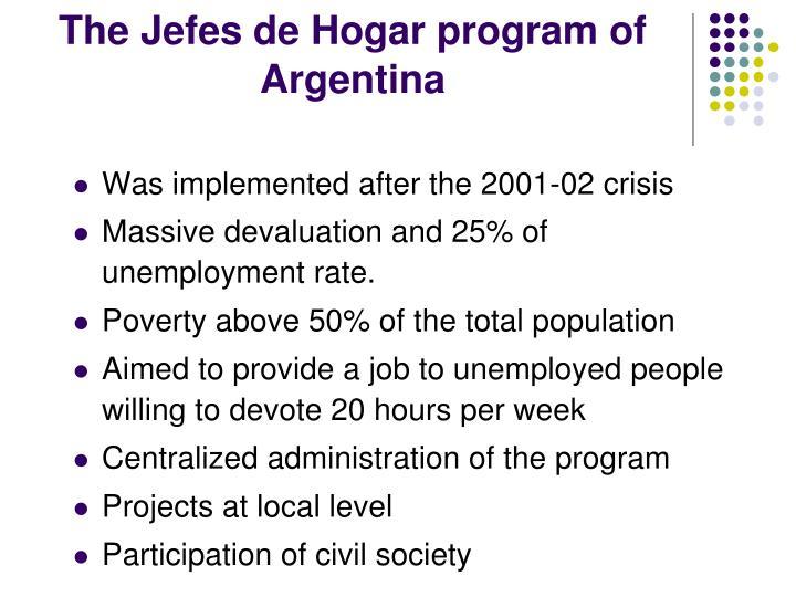 The Jefes de Hogar program of Argentina