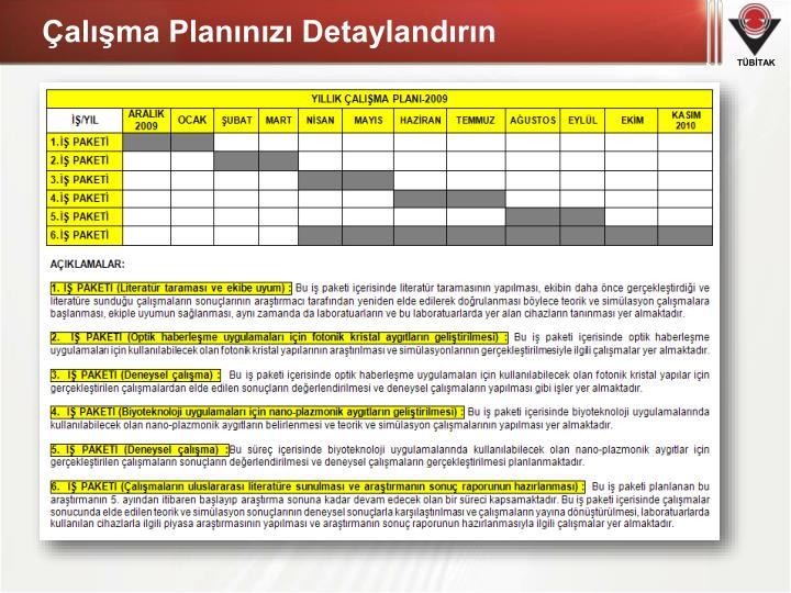 Çalışma Planınızı Detaylandırın