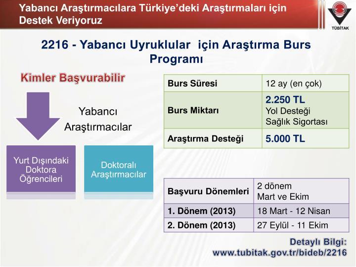 Yabancı Araştırmacılara Türkiye'deki Araştırmaları için Destek Veriyoruz