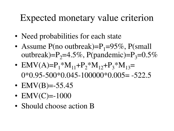 Expected monetary value criterion