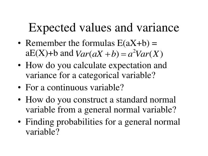 Expected values and variance